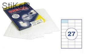 73576 Этикетки самоклеящиеся MEGA LABEL 70х32 мм / 27 шт. на листе А 4 (100 листов в пачке)