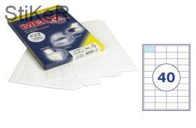 73644 Этикетки самоклеящиеся MEGA LABEL 50х28,5 мм / 40 шт. на листе А 4 (100 листов в пачке)